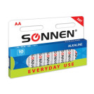 "Батарейки SONNEN, AA (LR6), 10шт/уп, ""Everyday use"", 1.5В"