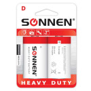 "Батарейки SONNEN, D (R20), 2шт/уп., ""Heavy Duty"", солевые, в блистере, 1.5В"